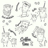 Coffee time sketch style characters Royalty Free Stock Photo