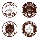 Coffee time stamps set. Vector illustration of a coffee time stamps set Stock Photos