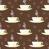 Coffee time theme. Seamless patten background with cups Royalty Free Stock Images