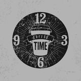Coffee Time typographical grunge vintage style poster. Retro vector illustration. Royalty Free Stock Photos