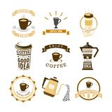 Coffee Time Various Mural Lettering Typography Illustration Design Set Stock Image