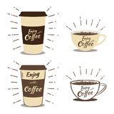 Enjoy with coffee time. Coffee time of various types. The perfect coffee cup for a collection of aromatic drinks, posters, banners, flyers, tags royalty free illustration