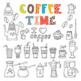 Coffee time. Vector doodle set Stock Image