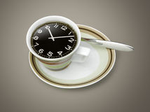 Coffee time , watch drawing on coffee cup Royalty Free Stock Image