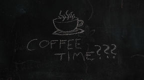 Coffee time???. White silhouette of cup drawn with chalk on black board and text Coffee time Royalty Free Stock Images