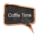 Coffee time word concept on speech bubbles from wood on white background Stock Photos