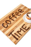 Coffee time  words with coffee beans Royalty Free Stock Photo