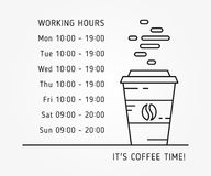 Coffee time working hours linear vector illustration. On grey background. Coffee store hours of operation creative graphic concept. Graphic design template for Royalty Free Stock Image