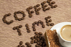 Coffee Time Written in coffee Beans Stock Photos