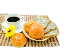 Coffee times with breads on bamboo mat Royalty Free Stock Photo