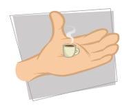 Coffee tiny. Cartoon illustration of a coffee tiny stock illustration