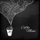 Coffee to go with abstract flavored decoration. Coffee to go chalk drawing. Flavored coffee. Vector sketch illustration Royalty Free Stock Images