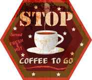 Coffee to go advertising sign Royalty Free Stock Photography