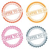 Coffee to go badge isolated on white background. Flat style round label with text. Circular emblem vector illustration Stock Photo