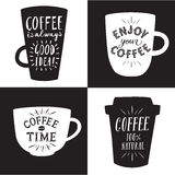 Coffee to go black and white illustrations set Royalty Free Stock Images