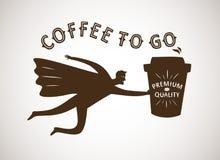 Coffee to go cartoon illustration Royalty Free Stock Photos