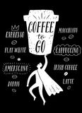 Coffee to go cartoon illustration Royalty Free Stock Images