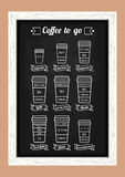 Coffee to go. Coffe types and recipe. White line icons on the chalkboard menu. Vector Stock Photography
