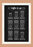 Coffee to go. Coffe types and recipe. White line icons on the chalkboard menu. Vector Stock Image