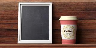 Coffee cup orange with a lid and blank blackboard on a wooden wall background, copy space, 3d illustration. Coffee to go concept. Coffee cup orange with a lid Stock Photos