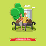 Coffee to go concept vector illustration in flat style. Couple young man and woman sitting on bench, talking to each other and drinking coffee vector illustration