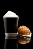 Coffee to go cup with croissant Royalty Free Stock Image