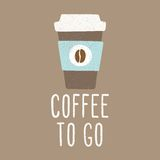 Coffee to go. Cup to go. Vector EPS 10 hand drawn illustration royalty free illustration