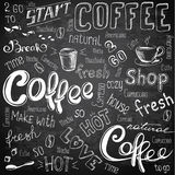 Coffee to go, cups, mugs, beans and lettering types Stock Photo