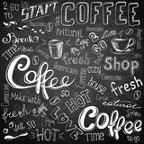 Coffee to go, cups, mugs, beans and lettering types Stock Images