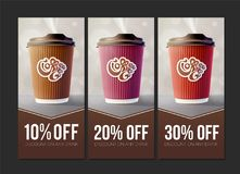 Coffee to Go Discount Concept. Vector EPS10 Royalty Free Stock Photography