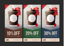 Coffee to Go Discount Vouchers. Coffee Ripple Cup with a Red Ribbon. Vector EPS10 royalty free illustration