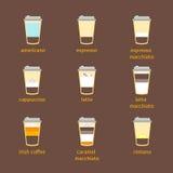 Coffee To Go Drinks Recipe Set. Vector Stock Photos