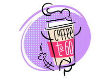 Coffee To Go. Funny and Colorful Hand Drawn Illustration.. Paper Coffee Cup Character is Running. Cartoon Style with Halftone Texture. Flat Graphic for Cafe Royalty Free Stock Photography