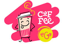 Coffee To Go. Funny and Colorful Hand Drawn Illustration.. Paper Coffee Cup Character Shows the Tongue. Cartoon Style. Flat Graphic for Logo for Coffee Shop or Royalty Free Stock Images