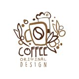 Coffee to go hand drawn original logo design with paper cup. Coffee shop logo template in original hand drawn design. Business or company label for menu cover Royalty Free Stock Photos