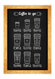 Coffee to go menu. Coffe types and recipe. White line icons on the chalkboard. Vector Stock Photography
