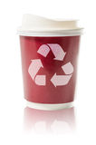 Coffee to go recycle paper cup isolated on white : Clipping path included Stock Images