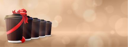 Coffee to Go. Ripple Cups with Gift Cup. Bokeh Cappuccino Background stock images