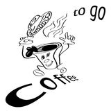 Coffee to Go, run male as vector illustration Royalty Free Stock Images