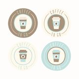 Coffee to go. Set of 4 badges. Vector EPS 10 hand drawn illustration Stock Photos