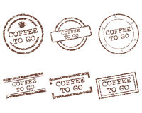 Coffee to go stamps Royalty Free Stock Photos