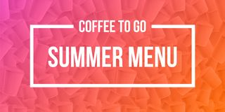 Coffee to go summer menu banner concept. Ripple cups gradient background with modern duotone effect. Vector EPS10 royalty free illustration
