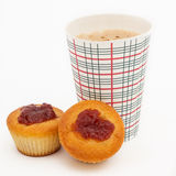 Coffee to go and two sweet Muffins Royalty Free Stock Photo