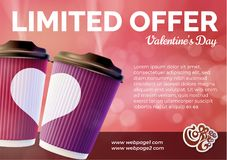 Coffee to Go Valentine`s Day Banner Concept Stock Photo