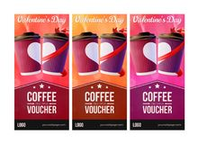 Coffee to Go Valentine`s Day Vouchers Concept royalty free illustration