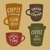 Coffee to go vintage illustrations set Stock Image