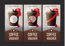 Coffee to Go Vouchers. Coffee Ripple Cup with a Red Ribbon. Vector EPS10 Stock Photo