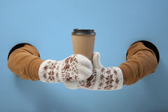 Coffee to go in winter time. Empty for your logo Stock Images
