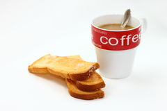 Coffee and toast. Breakfast isolated over white background Stock Images
