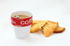 Coffee and toast. Breakfast isolated over white background stock image